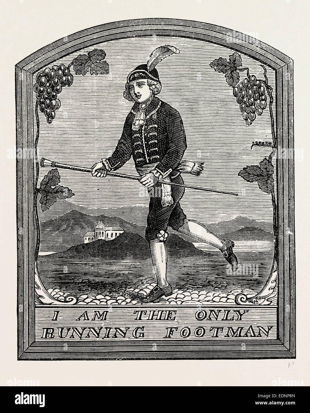 """THE SIGN OF """"THE RUNNING FOOTMAN."""" London, UK, 19th century engraving Stock Photo"""