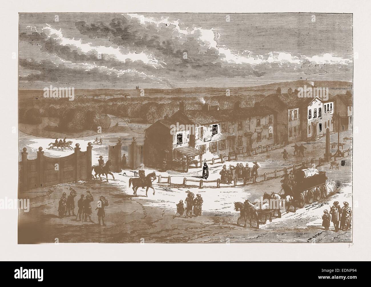 HYDE PARK CORNER 1N I750. London, UK, 19th century engraving - Stock Image