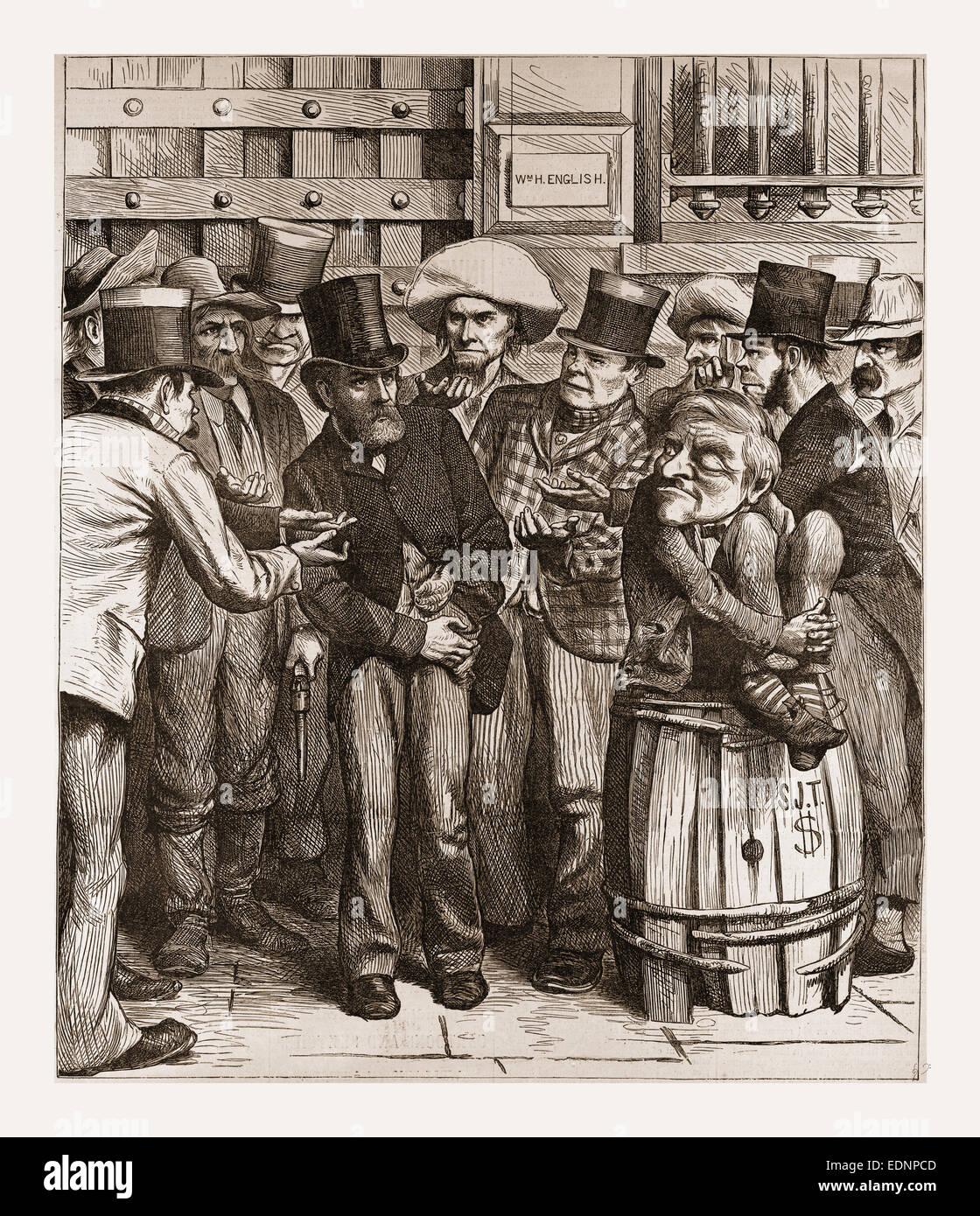 CHORUS OF HUNGRY DEMOCRATS, 1880, 19th century engraving, USA, America - Stock Image