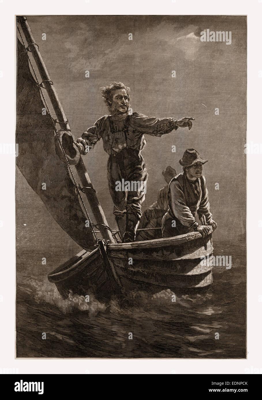 SIGHTING THE TRAWL BUOY.—DRAWN BY J. G. BROWN, 1880, 19th century engraving, USA, America - Stock Image