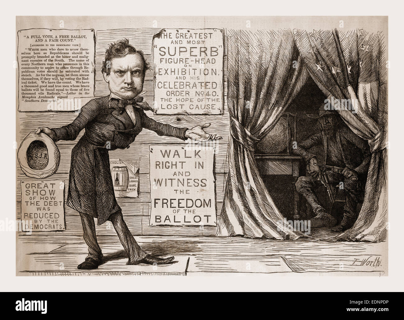 THE GREAT DEMOCRATIC MORAL SHOW., 1880, 19th century engraving, USA, America - Stock Image