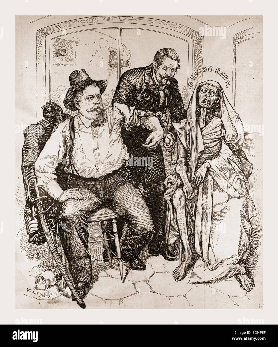 TRANSFUSION OF BLOOD—IS IT TOO LATE ?., 1880, 19th century engraving, USA, America - Stock Image