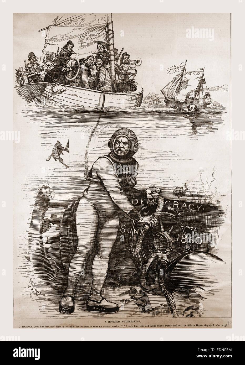 Democracy sunk 1860, 19th century engraving, USA, America - Stock Image