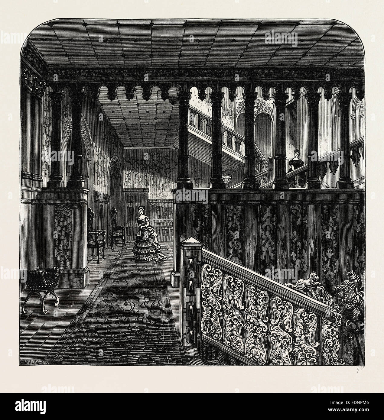 Grand staircase Holland House London c1880 old antique print HOLLAND PARK