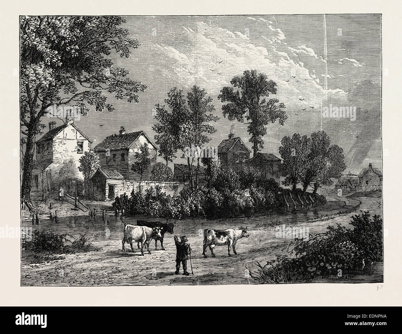 FARM IN THE REGENT'S PARK, 1750. London, UK, 19th century engraving Stock Photo