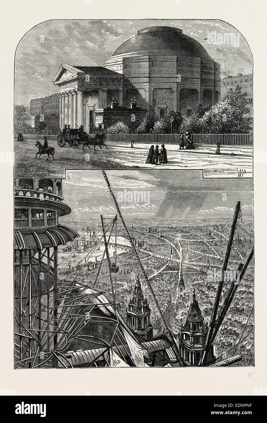 THE COLOSSEUM IN 1827. London, UK, 19th century engraving - Stock Image