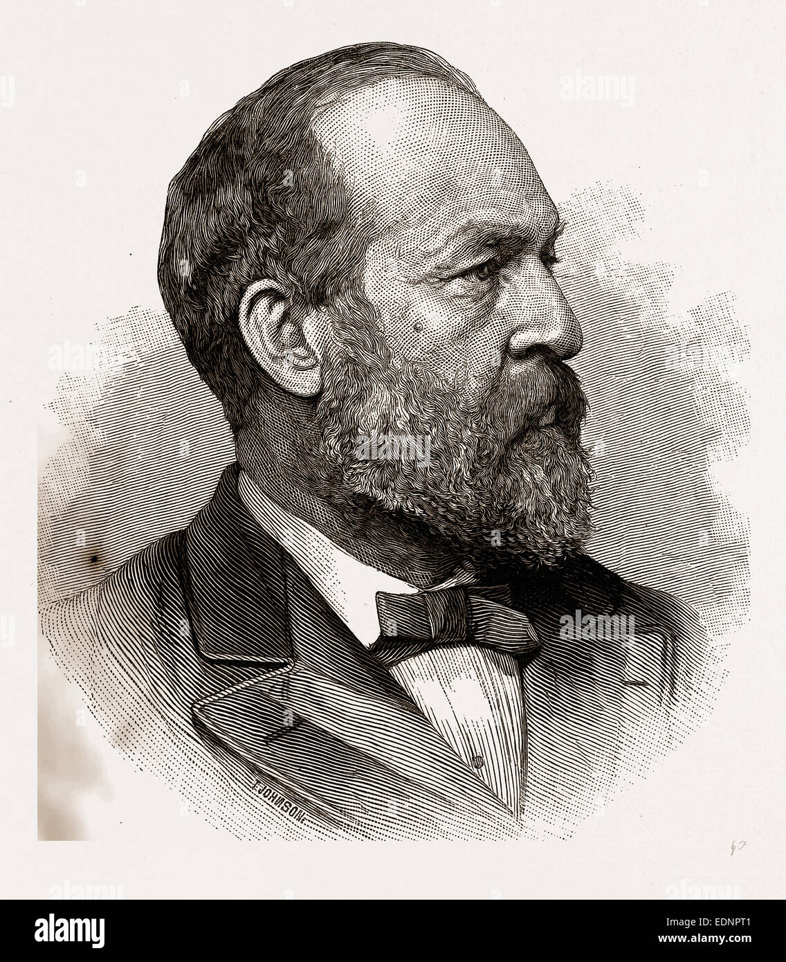 JAMES A. GARFIELD, PRESIDENT-ELECT OF THE UNITED STATES, 1880, 19th century engraving, USA, America - Stock Image