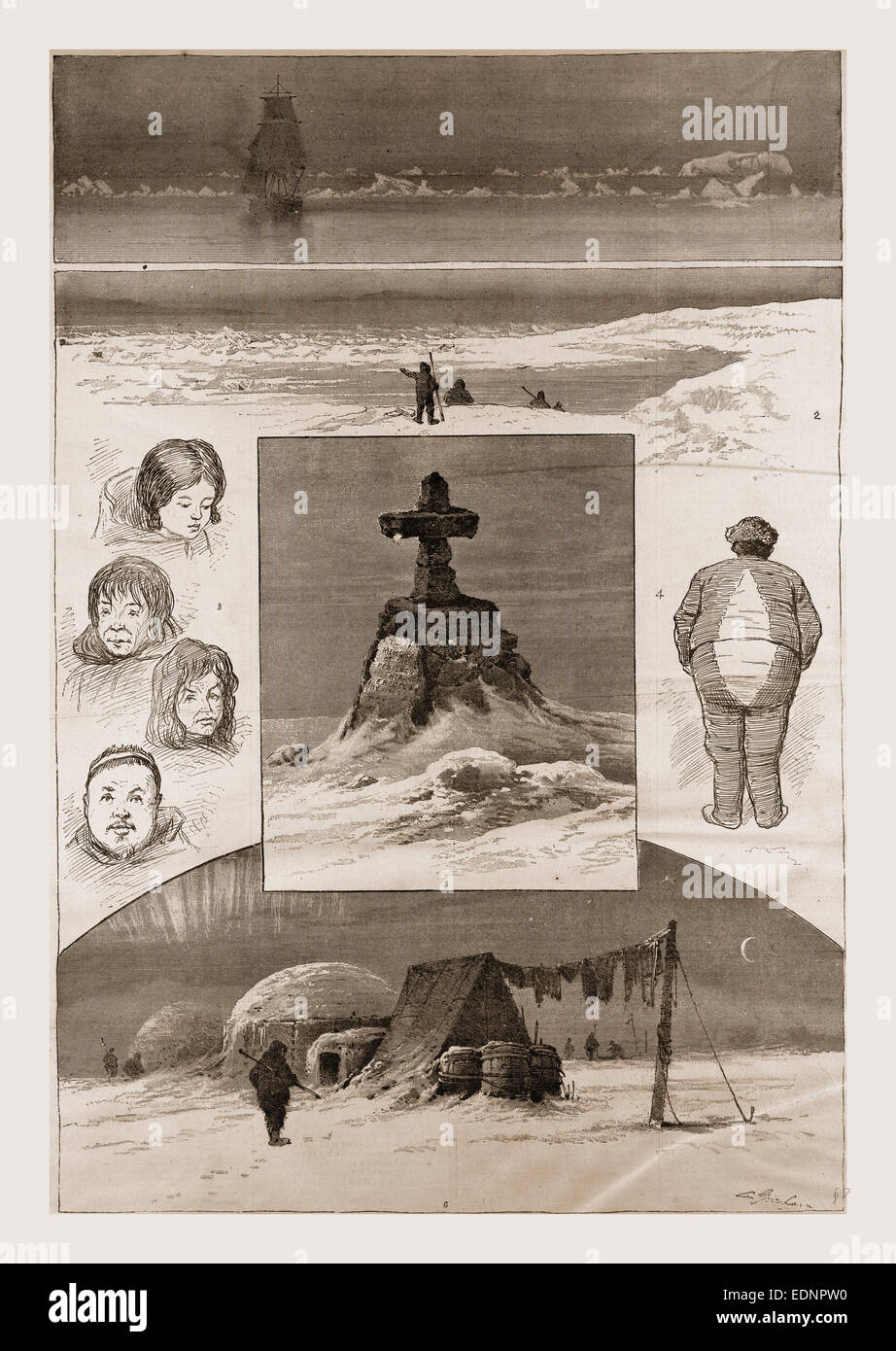 The search for Sir John Franklin, 1. Nearing the Ice-Pack. 2. Smith Point, where the Northwest Passage Ship sank. - Stock Image