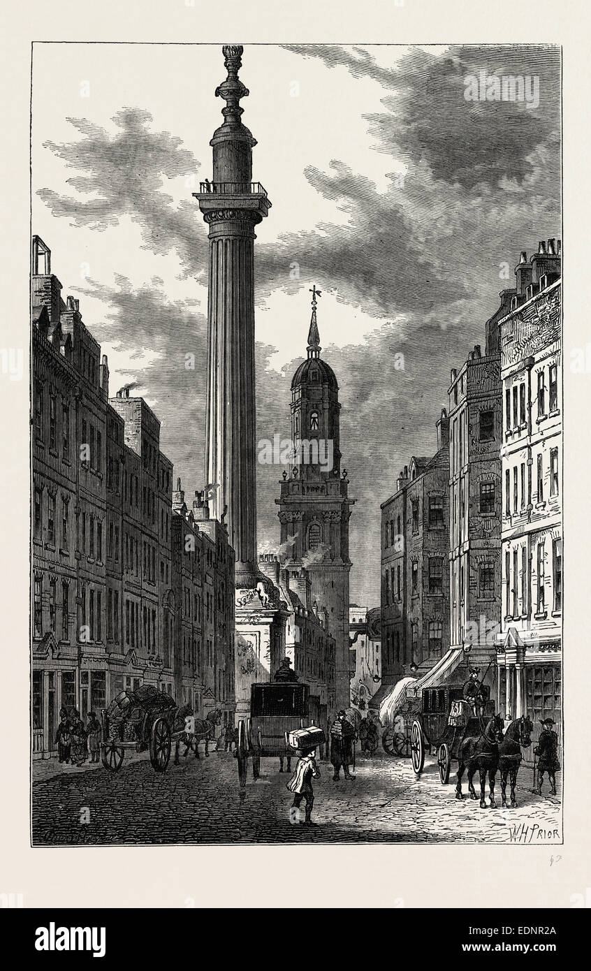 THE MONUMENT AND THE CHURCH OF ST. MAGNUS, ABOUT 1800 London, UK, 19th century engraving - Stock Image