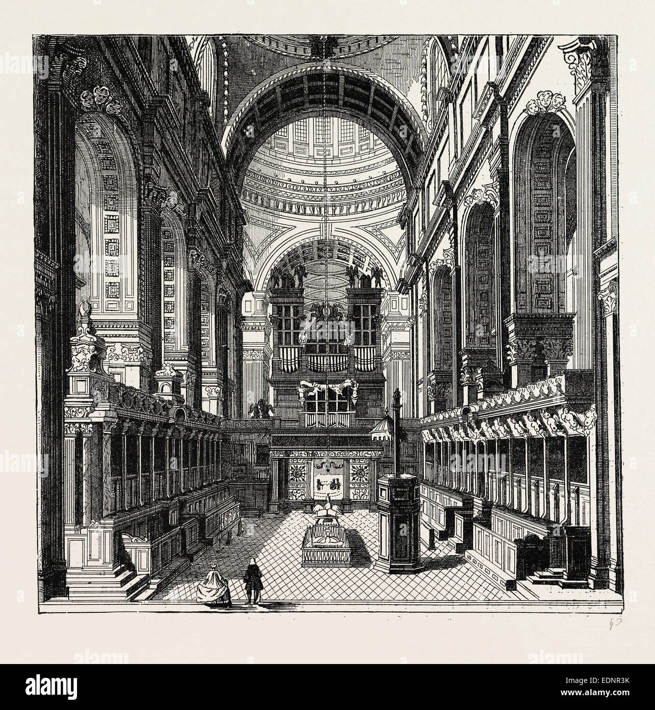 The Choir of ST. Paul, London, UK, 19th century engraving - Stock Image