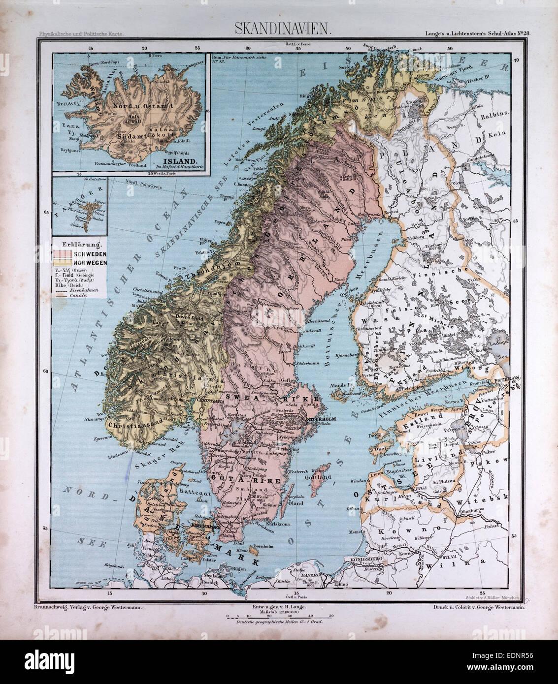 scandinavia northern europe atlas by th von liechtenstern and henry lange antique
