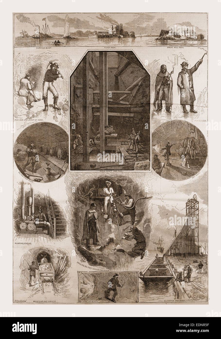 THE EXCAVATIONS UNDER FLOOD ROCK, HELL GATE, 1880, USA, America, 19th century engraving - Stock Image