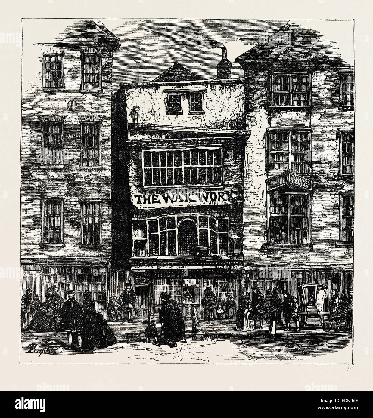 MRS. SALMON'S WAXWORK, FLEET STREET, PALACE OF HENRY VIII. AND CARDINAL WOLSEY. London, UK, 19th century engraving - Stock Image