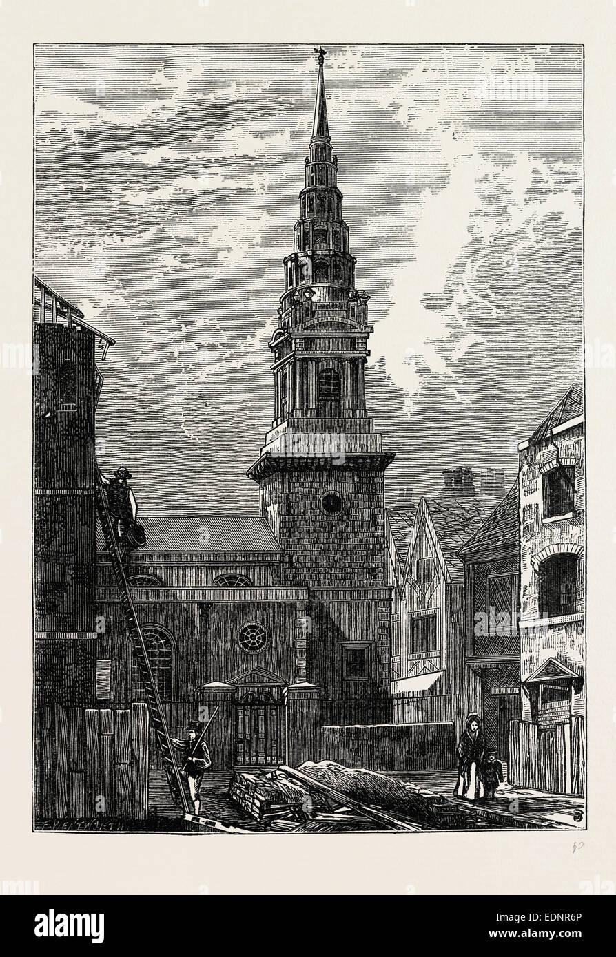 ST. BRIDE'S CHURCH, FLEET STREET, AFTER THE FIRE, 1824 ...