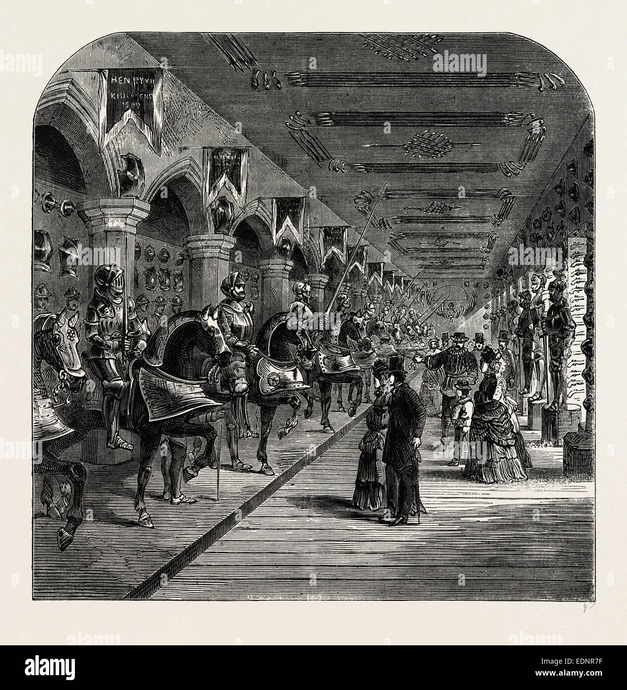THE TOWER HORSE ARMOURY. London, UK, 19th century engraving - Stock Image