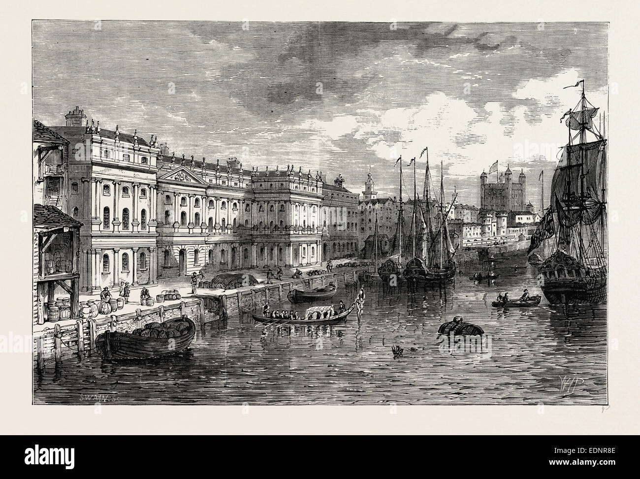 THE OLD CUSTOM HOUSE in 1753. London, UK, 19th century engraving. 18th