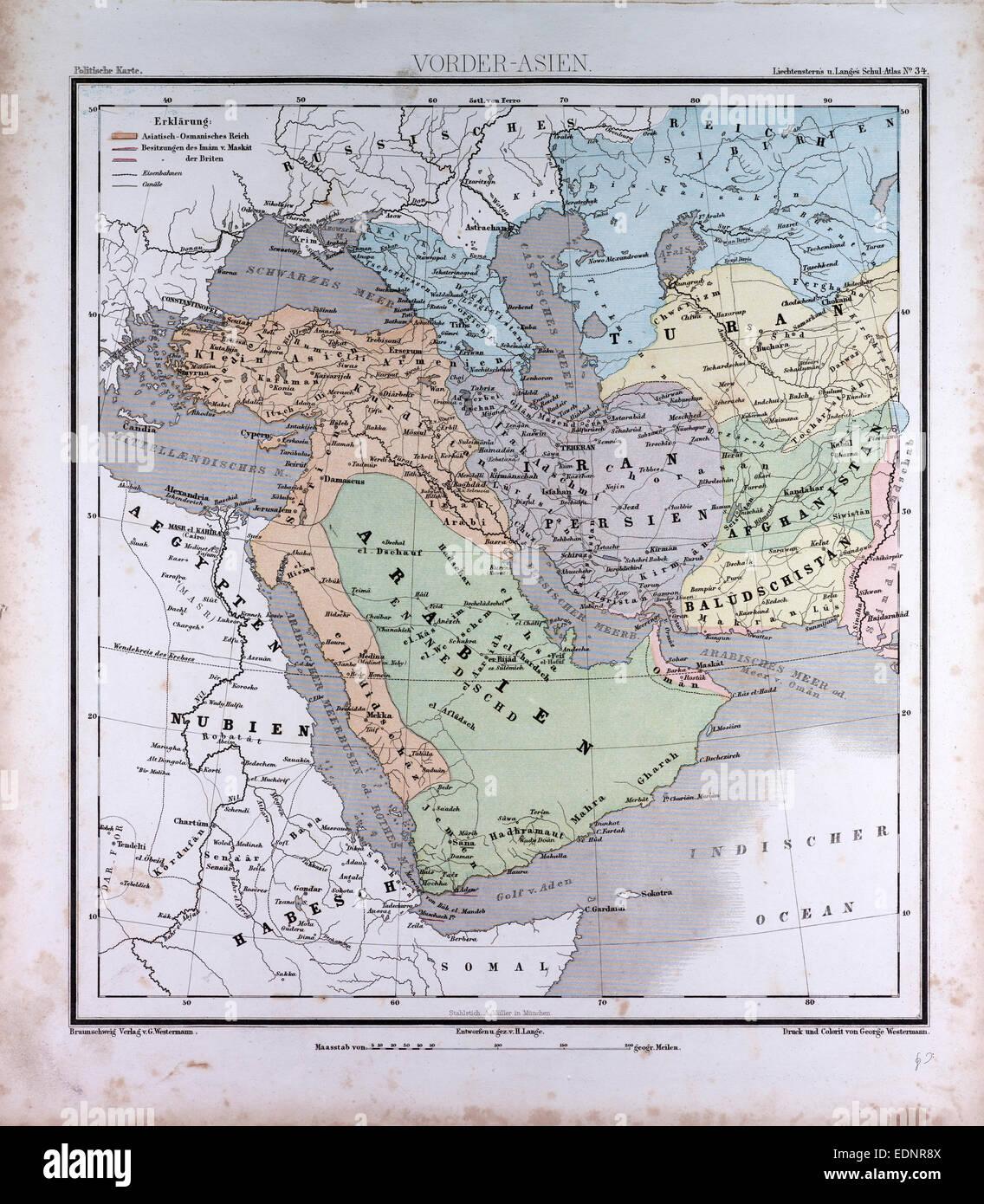 Western Asia or West Asia, atlas by Th. von Liechtenstern and Henry ...