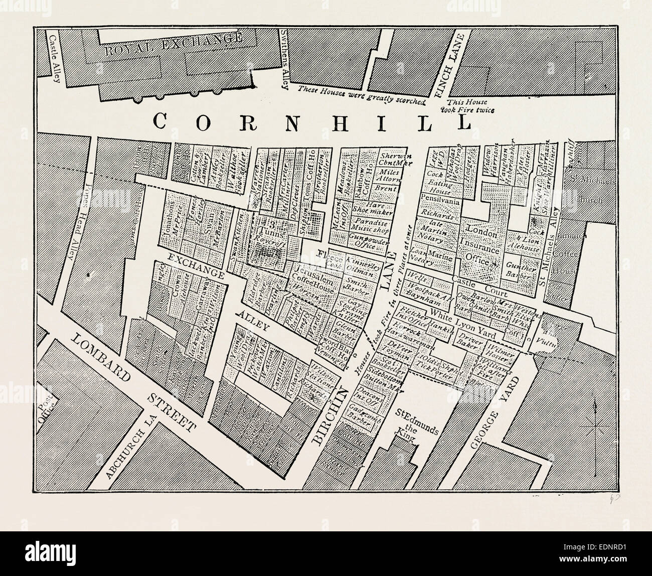 Map showing the extent of the Great Fire in Cornhill in 1748, London, UK, 19th century engraving - Stock Image