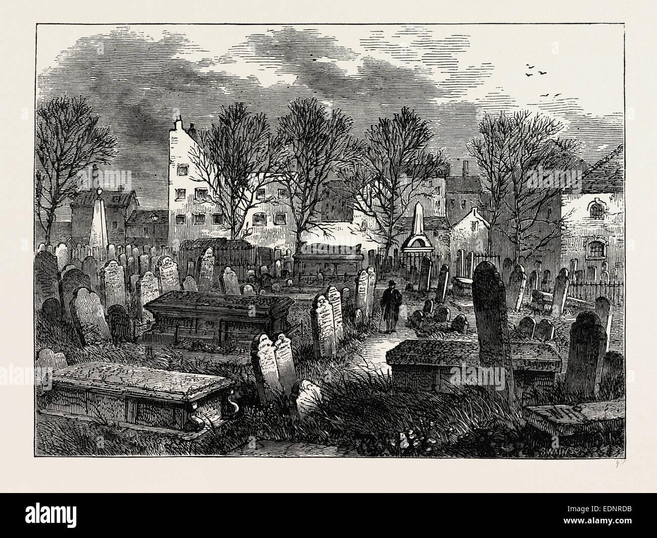 BUNHILL FIELDS BURIAL-GROUND. London, UK, 19th century engraving - Stock Image