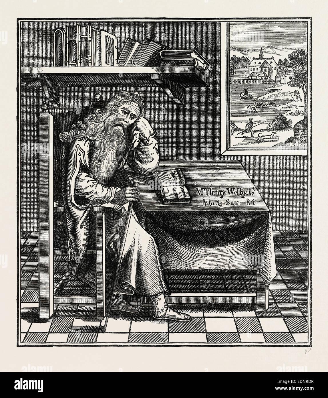 THE GRUB STREET HERMIT. London, UK, 19th century engraving - Stock Image