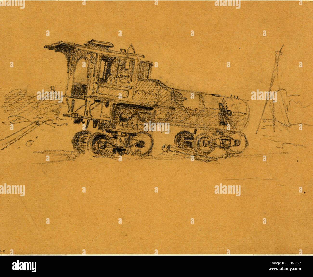 Locomotive, 1860-1865, drawing, 1862-1865, by Alfred R Waud, 1828-1891, an american artist famous for his American Stock Photo