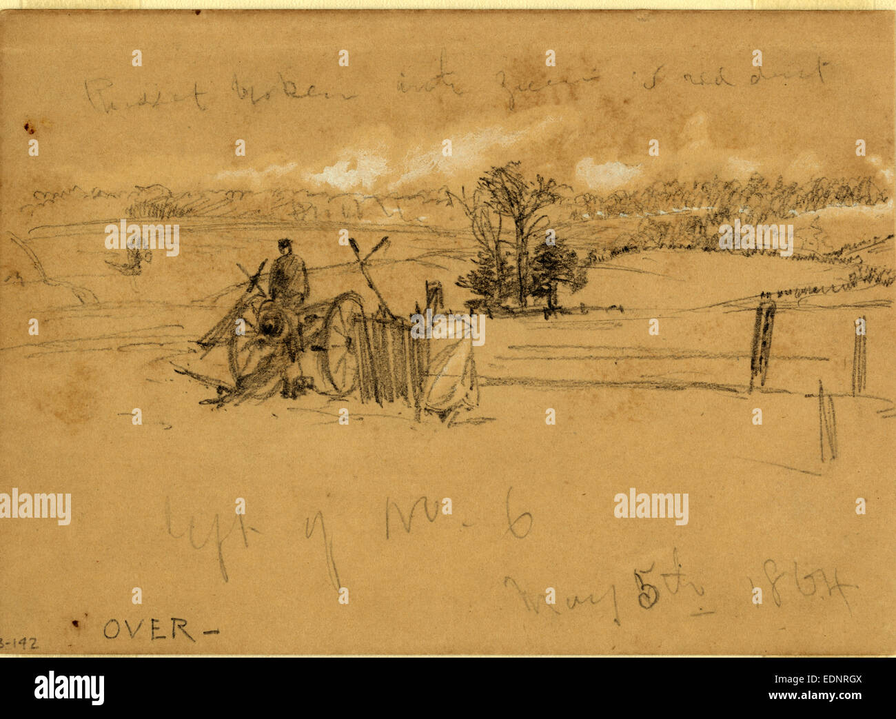 Left of No. 6, May 5th, 1864, drawing, 1862-1865, by Alfred R Waud, 1828-1891, an american artist famous for his Stock Photo