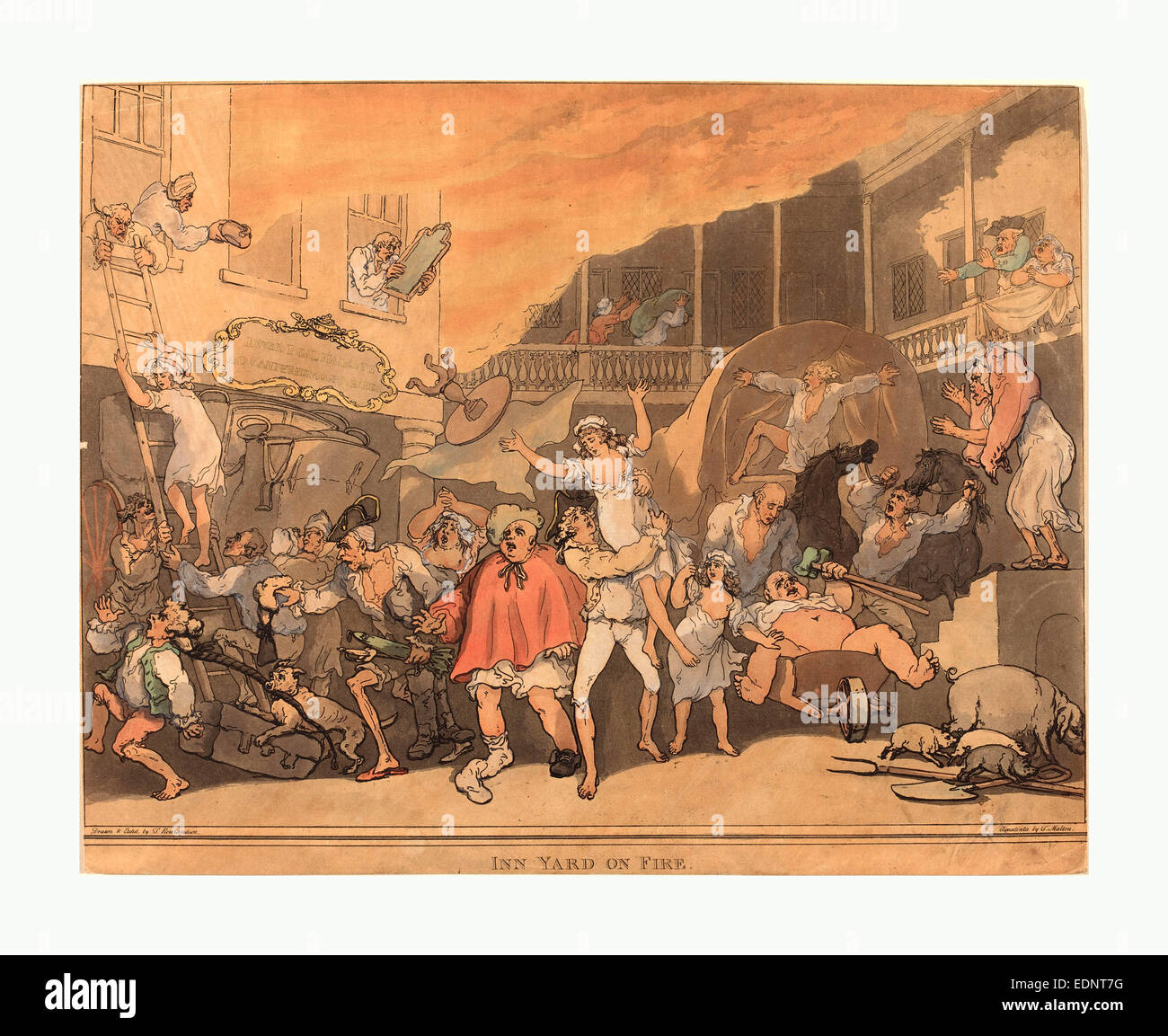 Thomas Rowlandson (British, 1756  1827 ), The Inn Yard on Fire, 1791, hand colored etching and aquatint - Stock Image