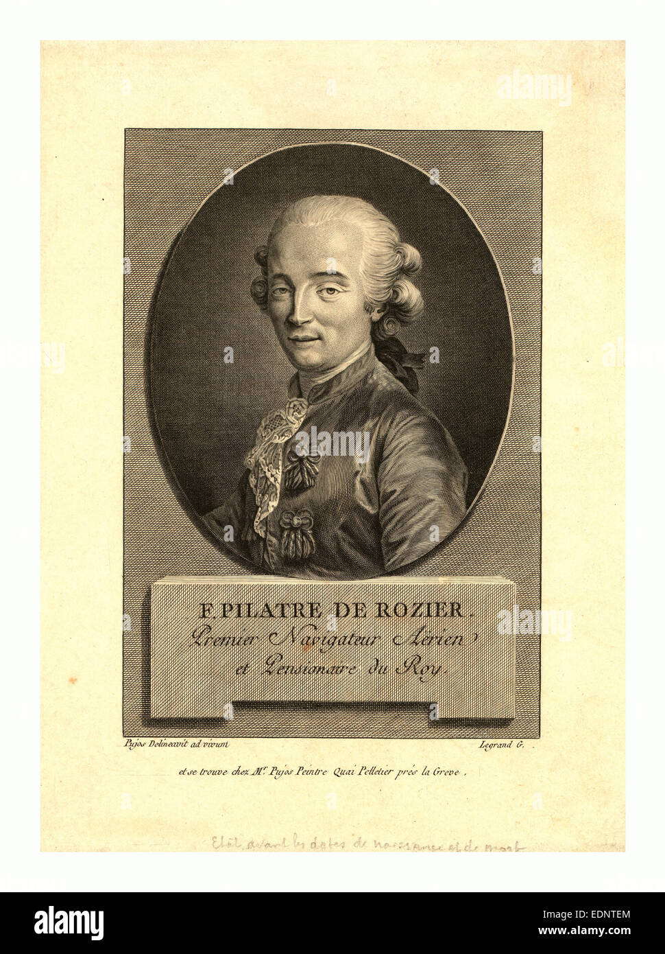 Oval head-and-shoulders portrait of French balloonist Jean-François Pilâtre de Rozier, who took the first - Stock Image