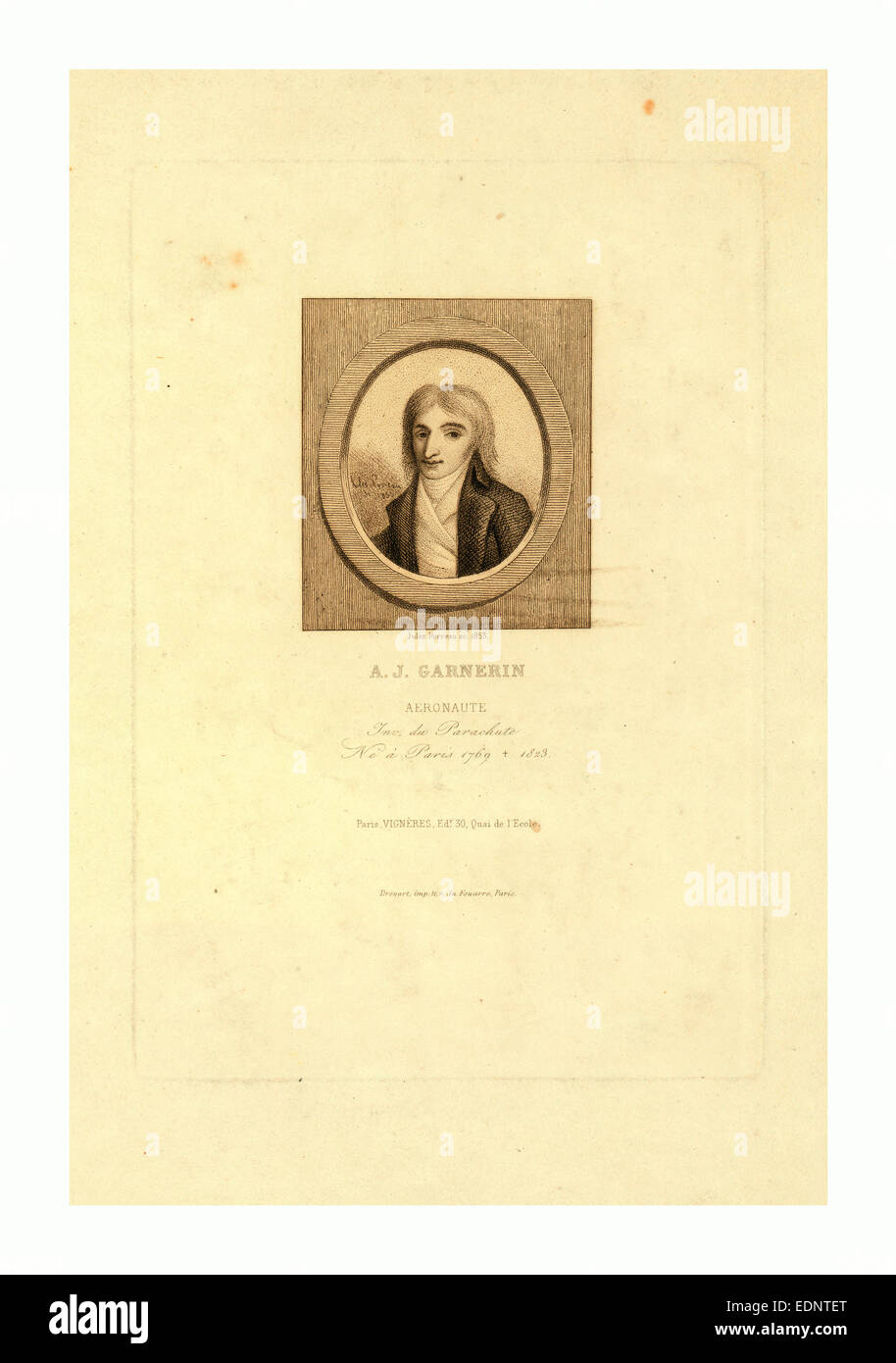A.J. Garnerin, aeronaut by Jules Porreau, 1853 - Stock Image