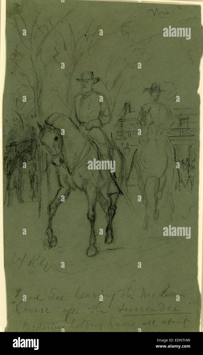 Lee Leaving The McLean House After Surrender 1865 April 9 Drawing On Green Paper Pencil