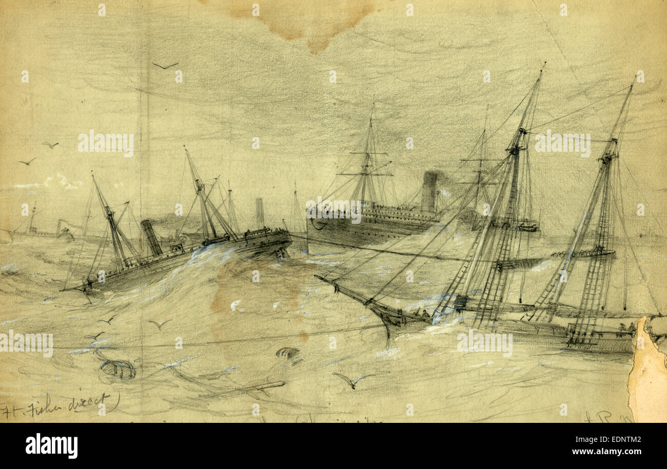 For Ft. Fisher direct. The Expedition leaving the Chesapeake, drawing, 1862-1865, by Alfred R Waud, 1828-1891 - Stock Image