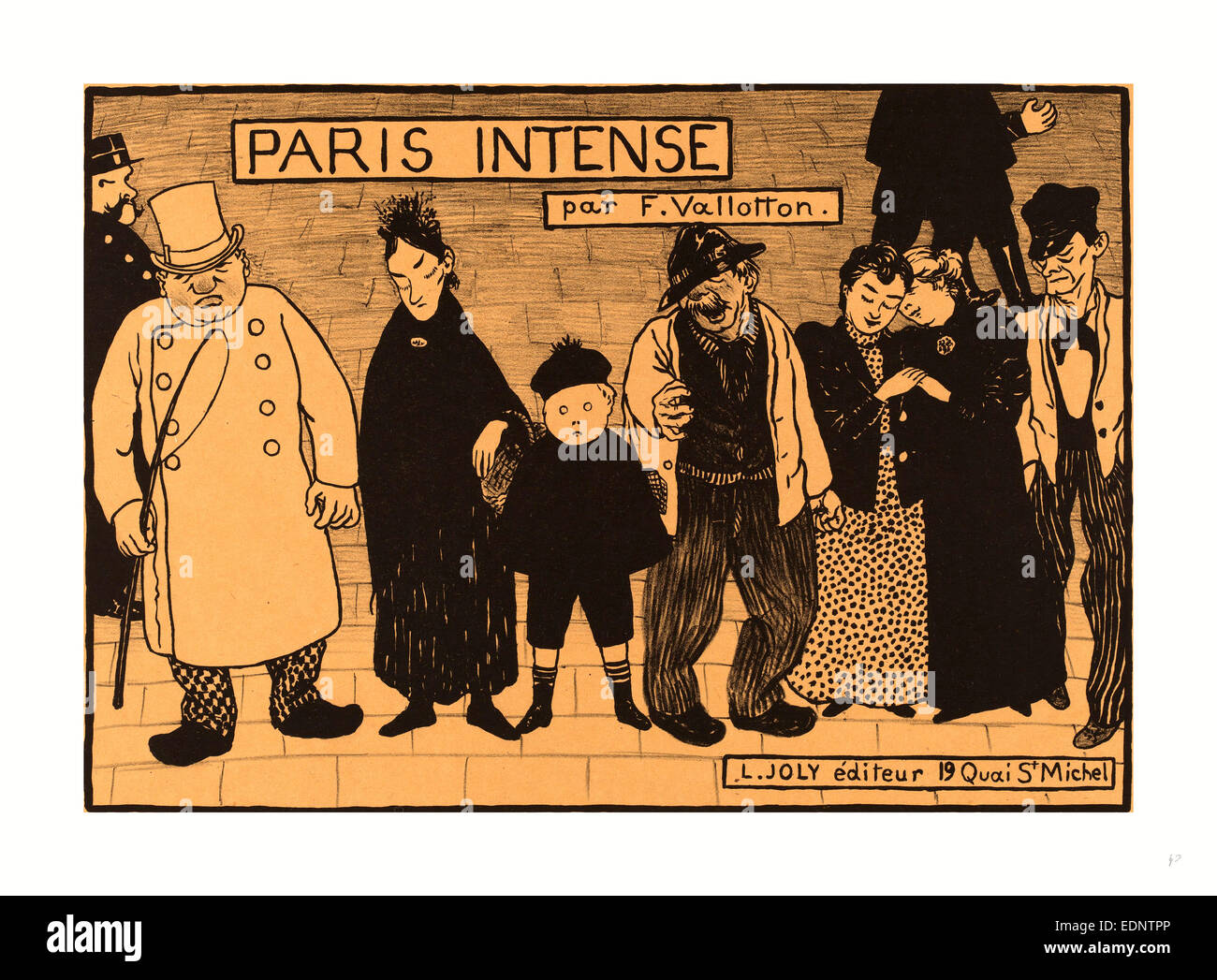 Flix Vallotton, Frontispiece from Paris Intense, Swiss, 1865 - 1925, 1894, lithograph (zinc) on yellow wove paper - Stock Image