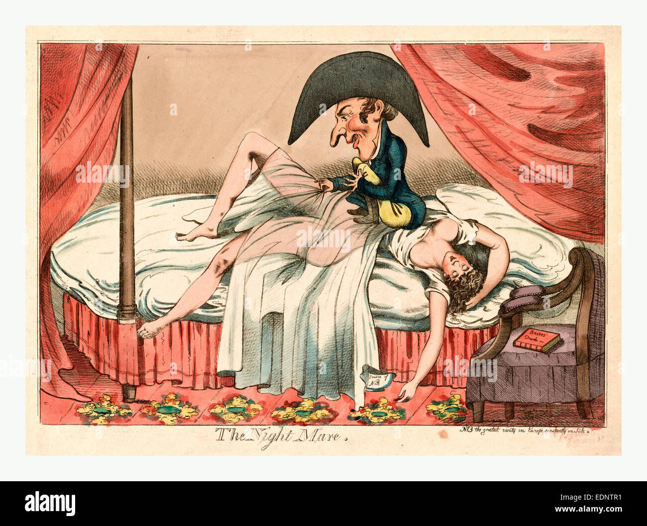 1790, a scantily clad woman asleep on a bed, a little man sitting on her  chest