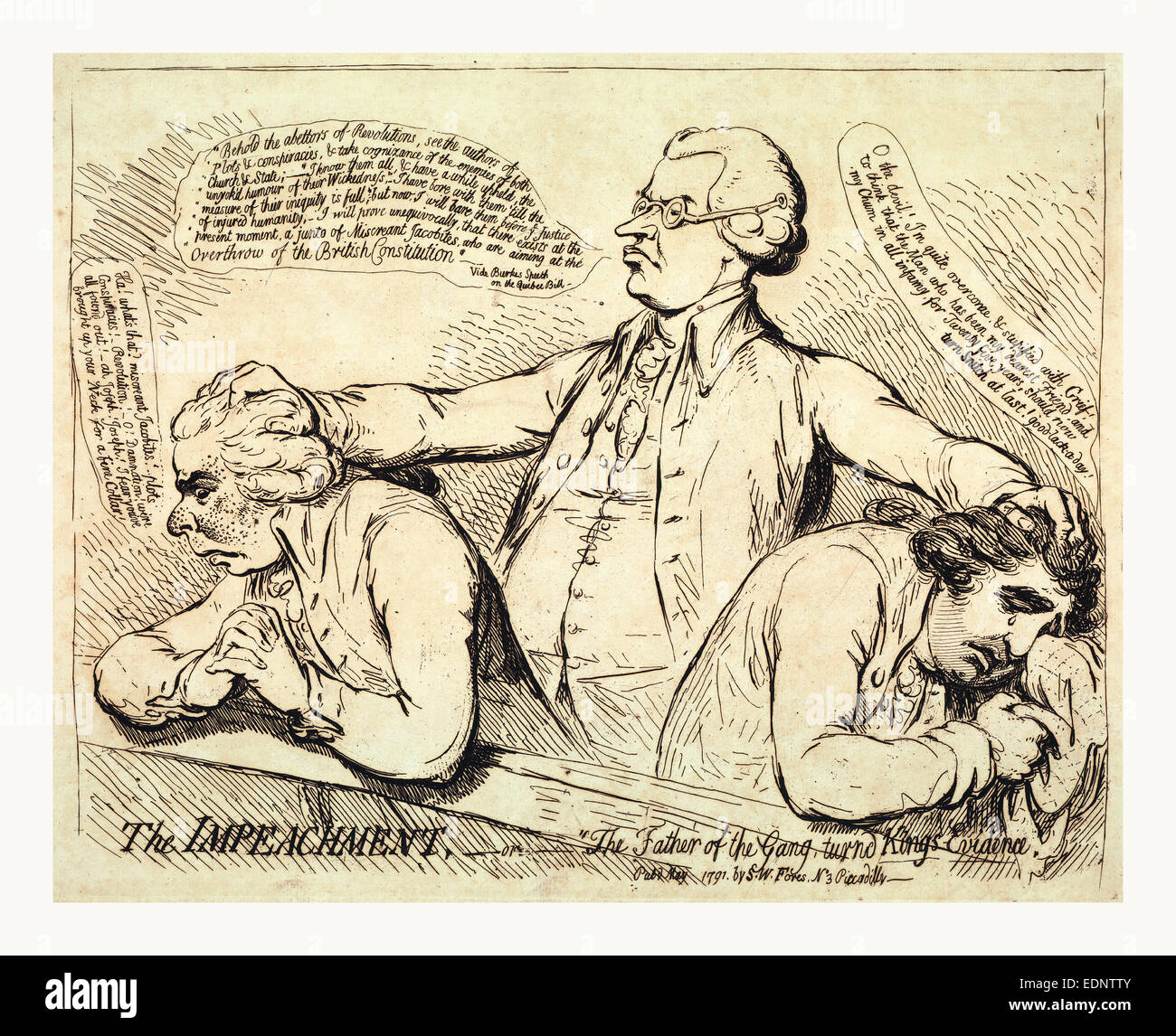 The impeachment, or The father of the gang turned Kings evidence, Gillray, James, 1756-1815, artist, engraving 1791 - Stock Image