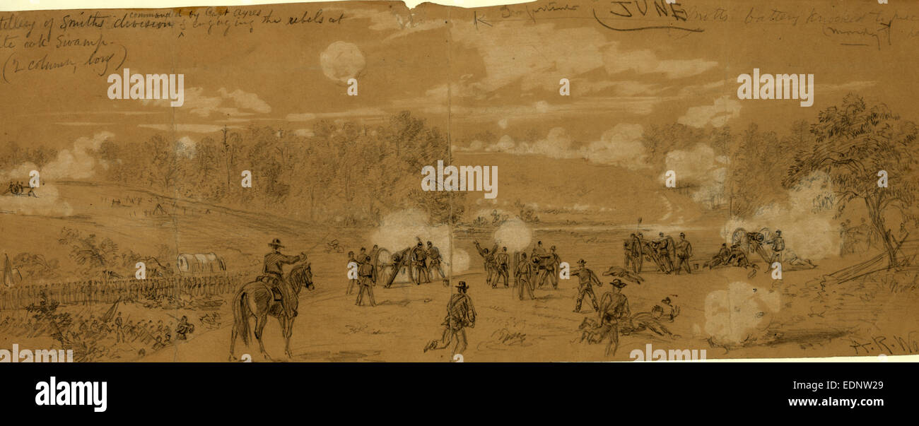 Artillery of Smith's division commanded by Capt. Ayres engaging the rebels at White Oak Swamp, drawing, 1862 - Stock Image