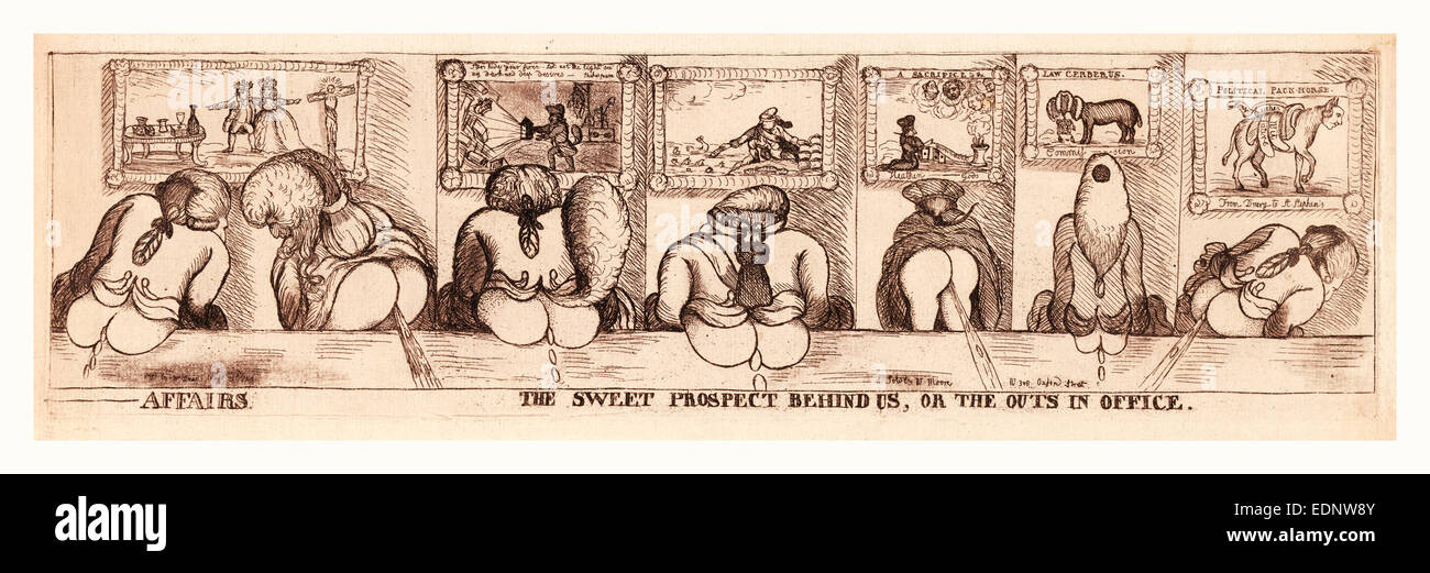 Affairs. The sweet prospect behind us, or The outs in office, Dent, William, active 1783-1793, publisher, en sanguine - Stock Image
