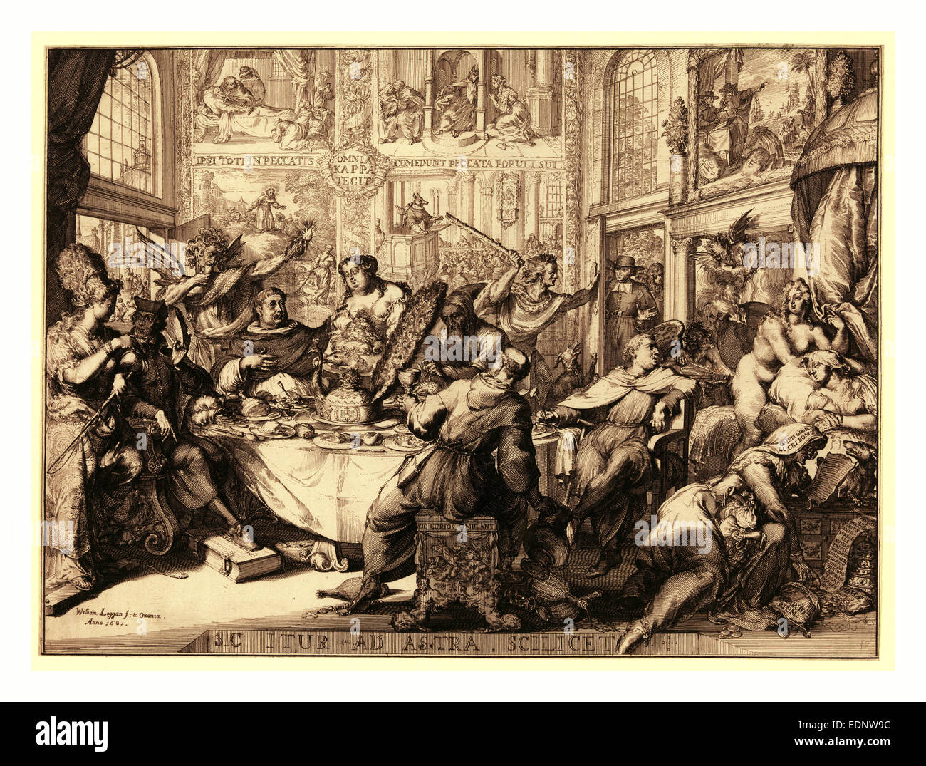 Louis d'Or au soleil, en sanguine engraving 1705, Louis XIV sitting next to a table, head resting on his left - Stock Image