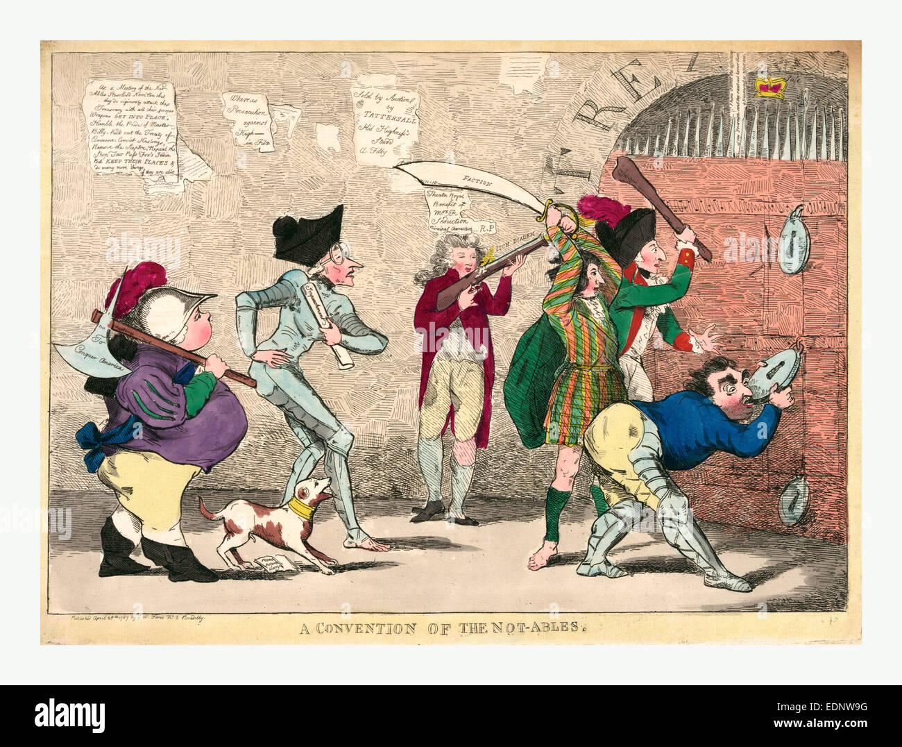 A convention of the not-ables, engraving 1787, Lord North, Edmund Burke, Charles Fox, the Prince of Wales - Stock Image