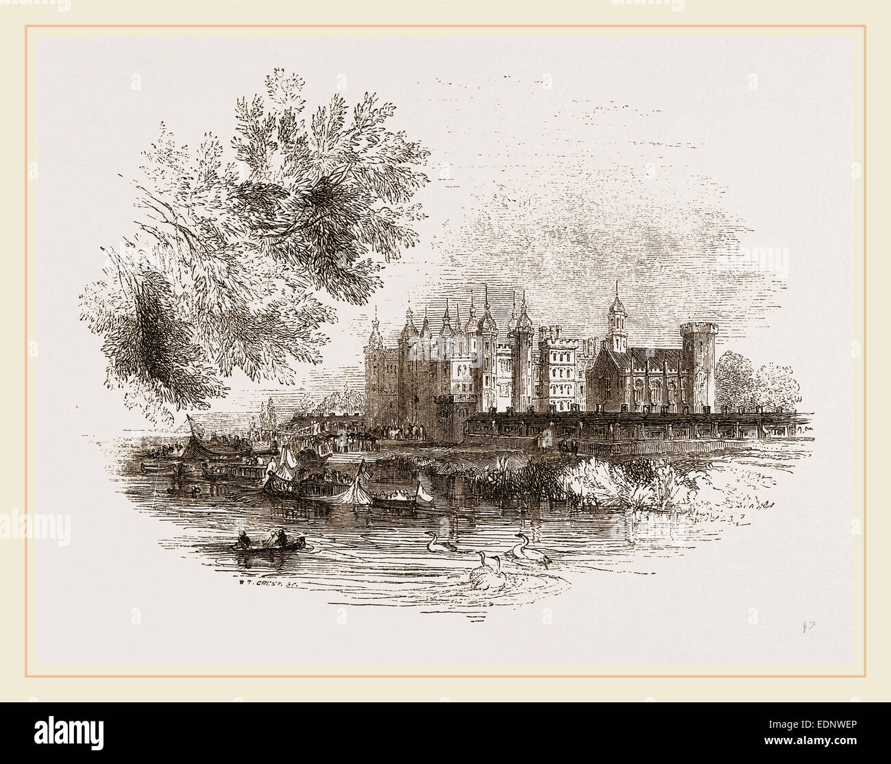 Richmond Palace in the olden time, London UK - Stock Image