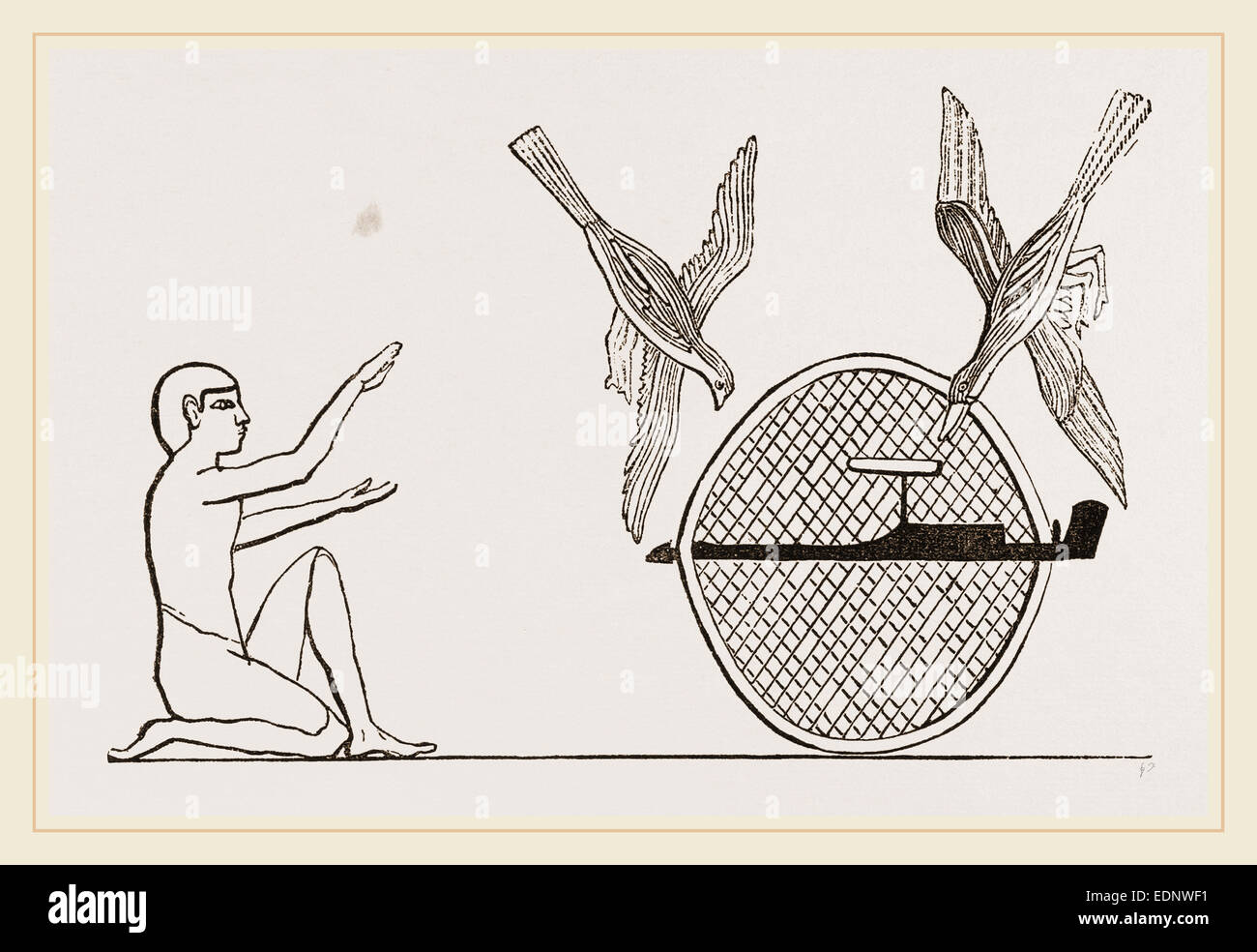 Clap-net of Ancient Egyptians for Bird-catching, Egypt - Stock Image