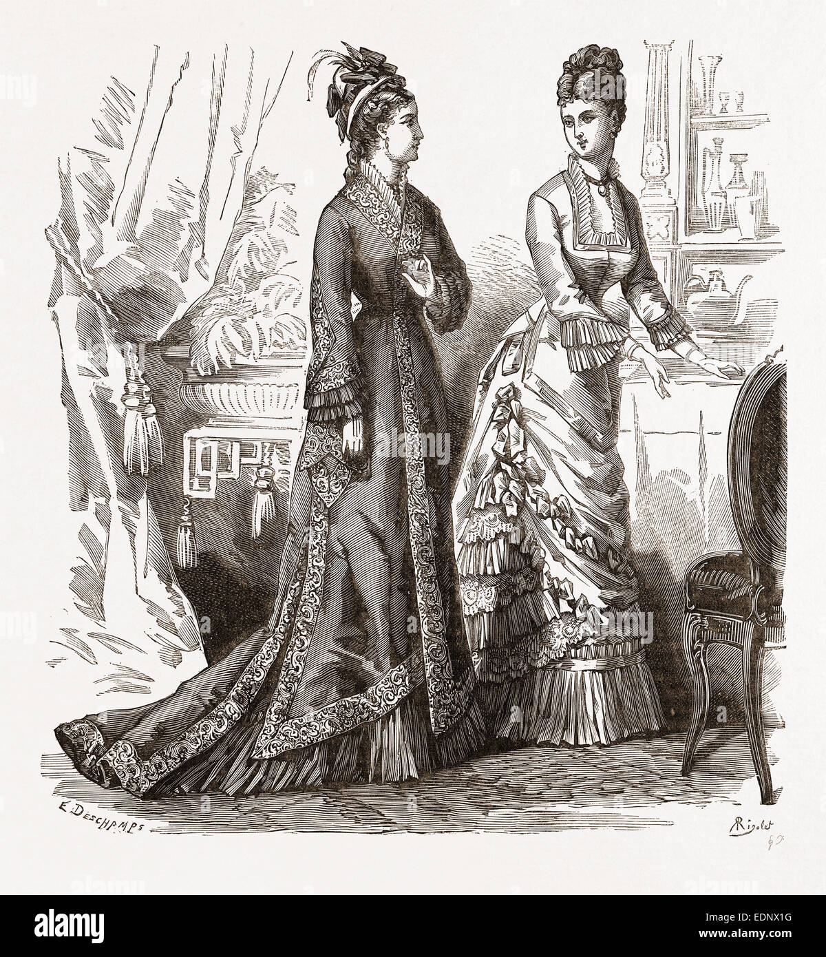TOILETTES FOR VISITING AND CONCERTS, 19th CENTURY FASHION - Stock Image