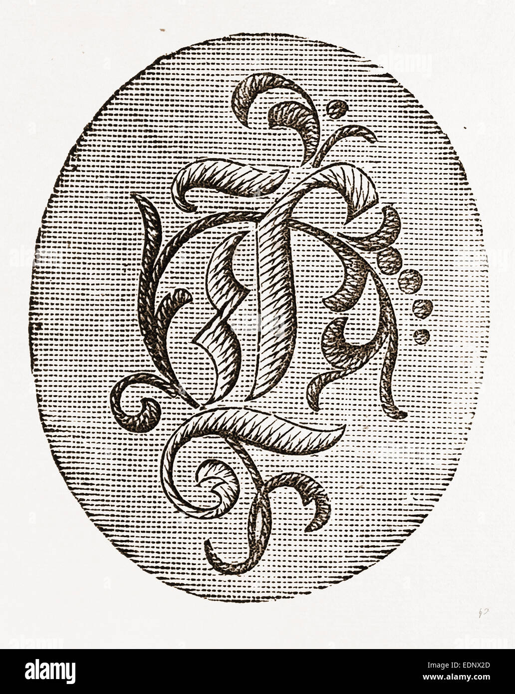 2 3 INITIAL FOR UNDERLINEN, NEEDLEWORK, 19th CENTURY EMBROIDERY - Stock Image