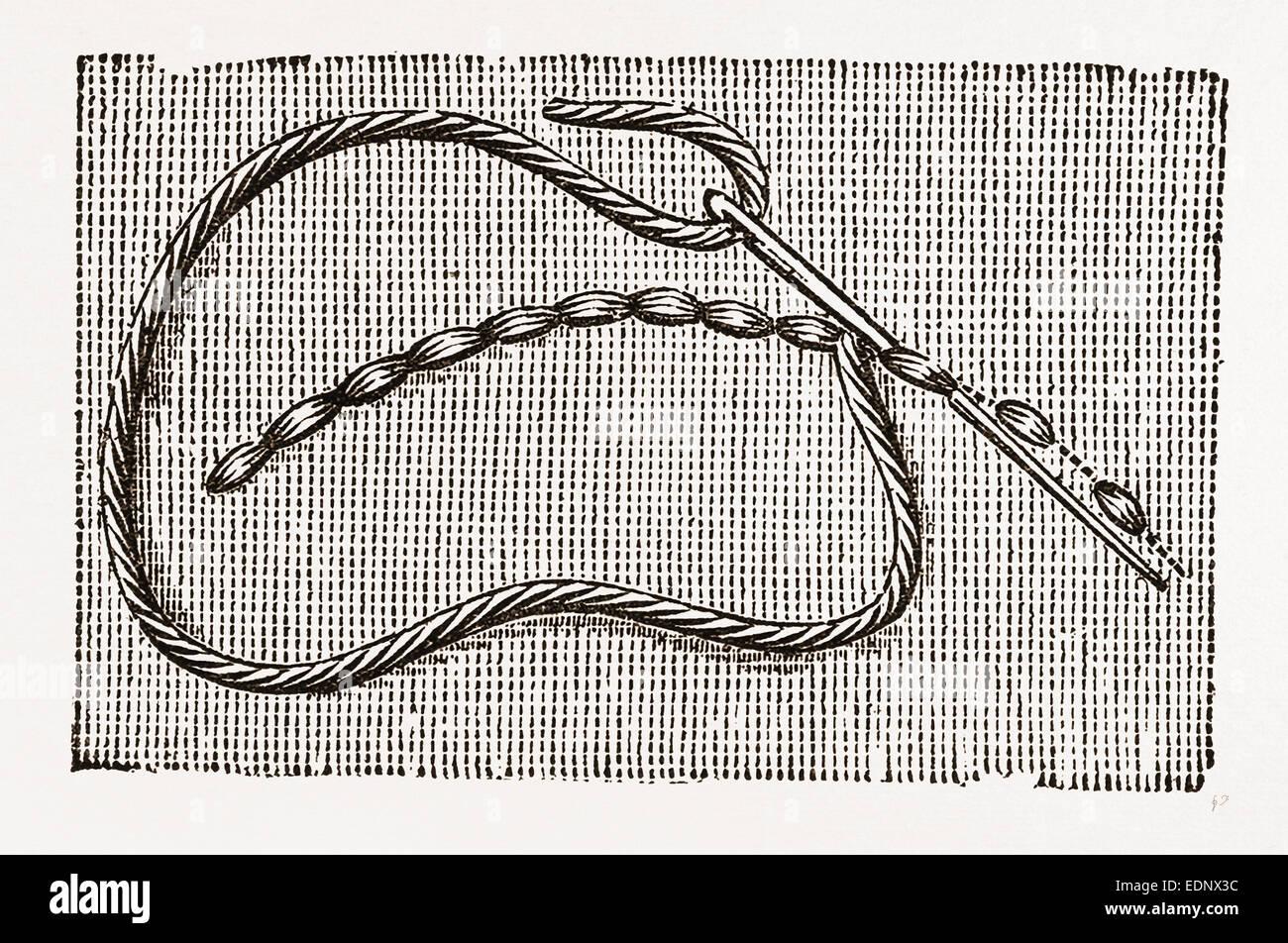 NEEDLEWORK, 19th CENTURY EMBROIDERY - Stock Image