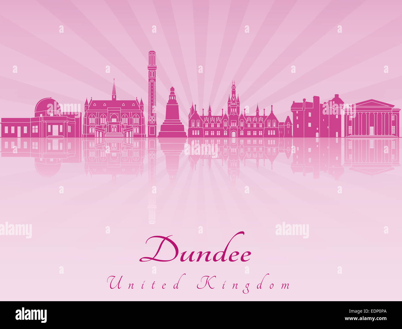 Dundee skyline in purple radiant orchid - Stock Image