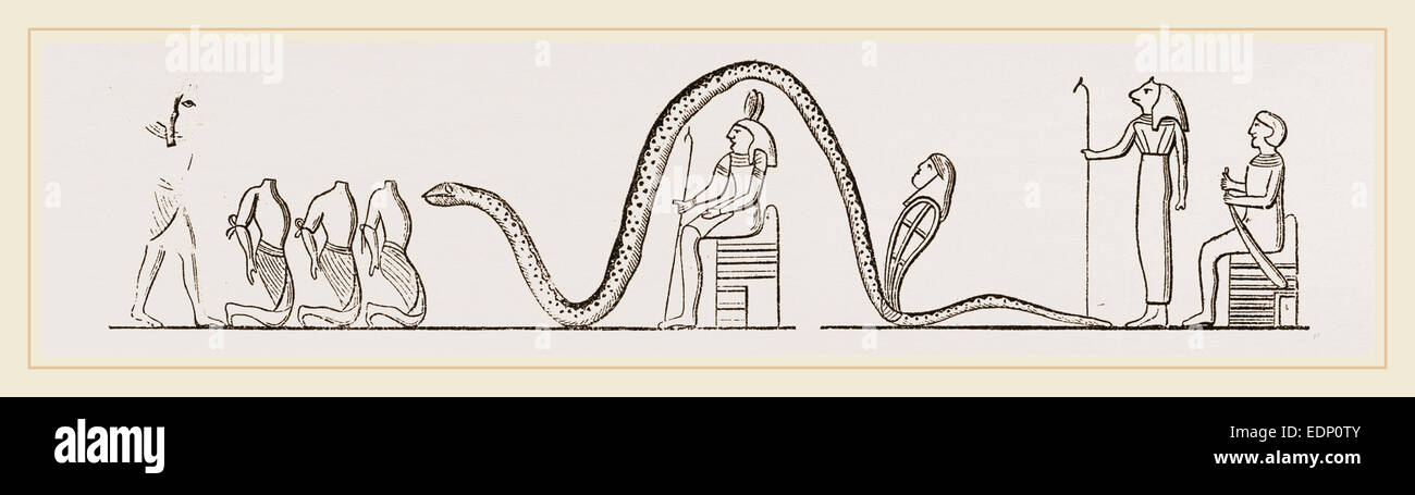 Egyptians offering Human Sacrifice to Serpents - Stock Image