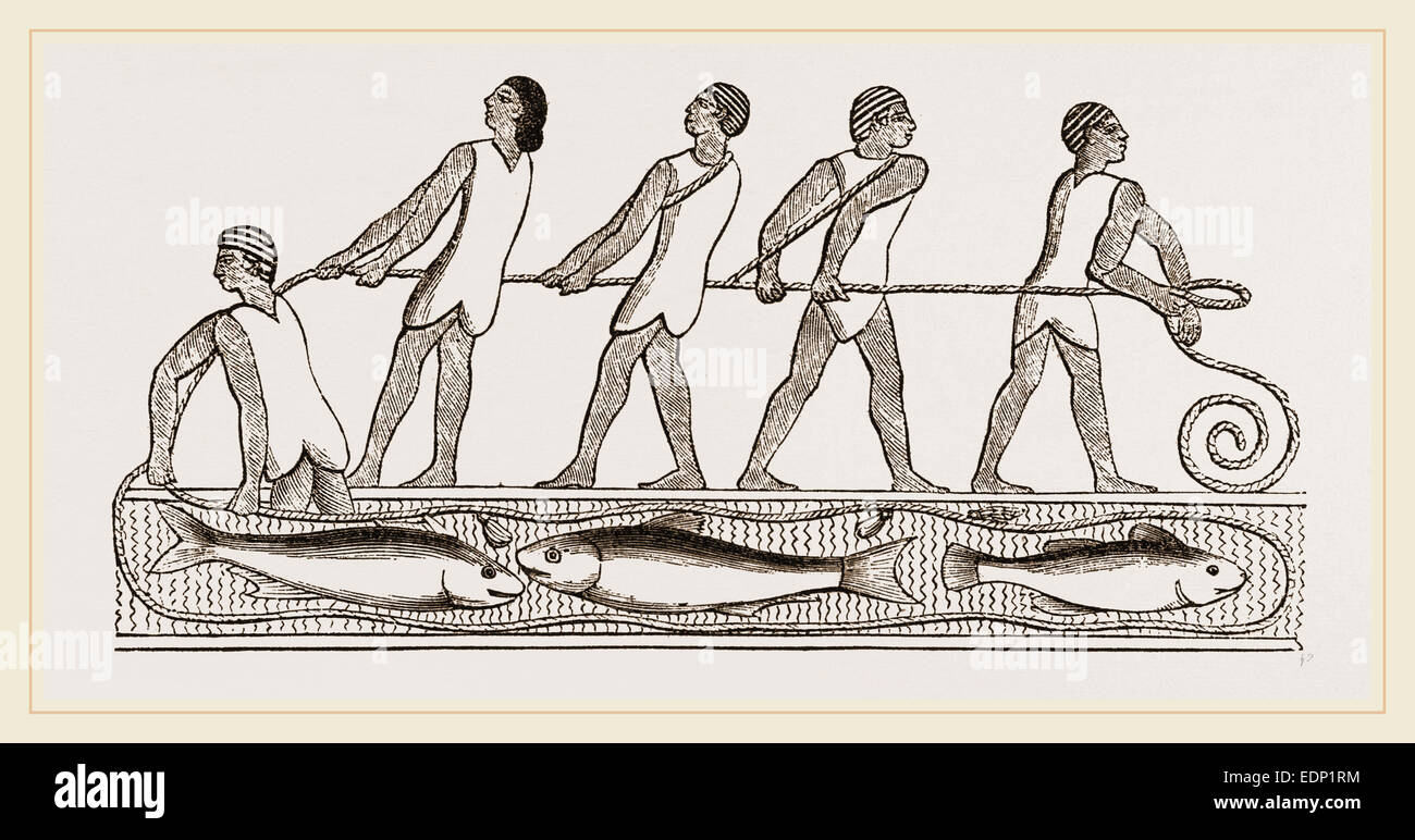 Ancient Egyptians fishing with drag-net, Egypt - Stock Image