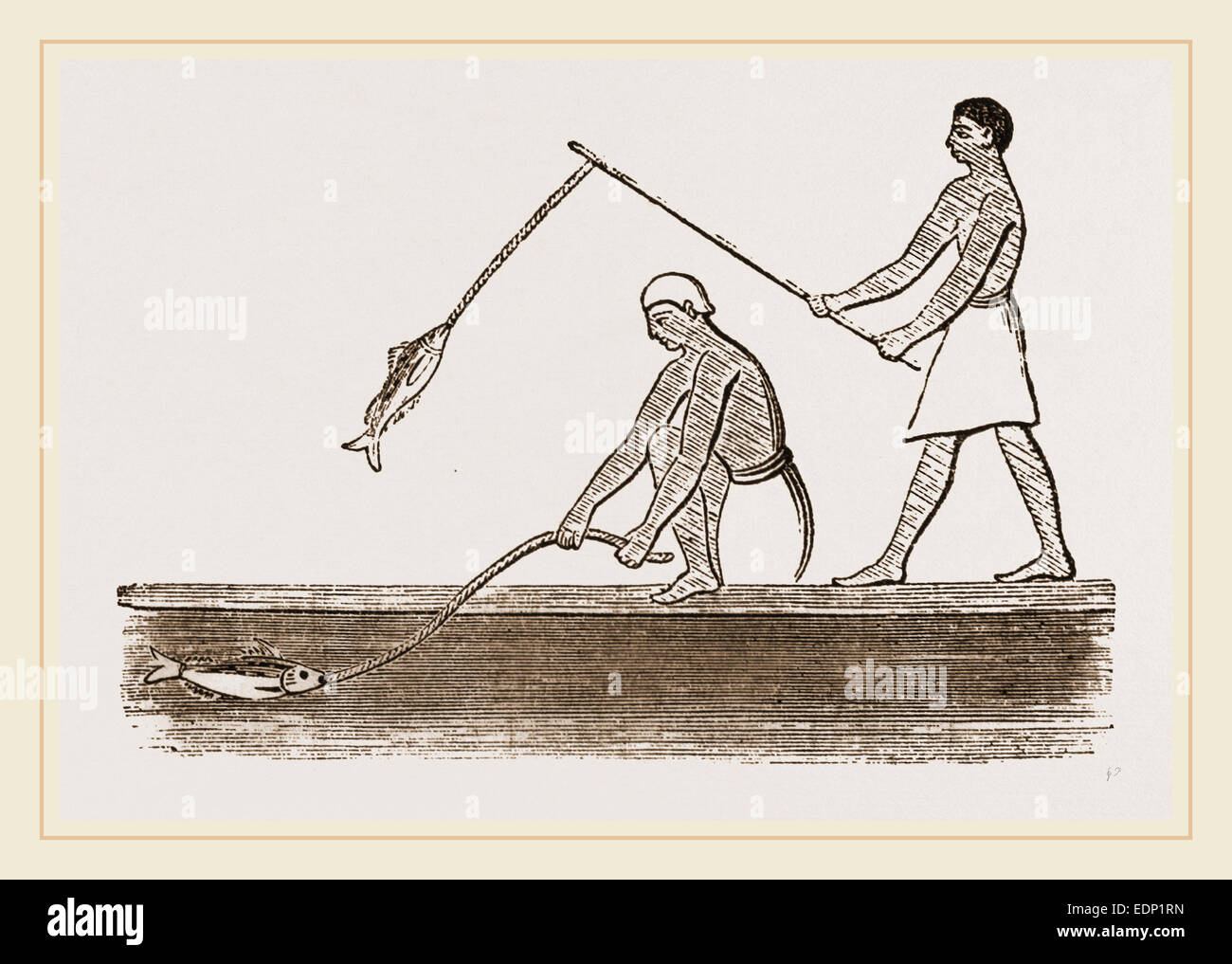 Ancient Egyptians angling, Egypt - Stock Image