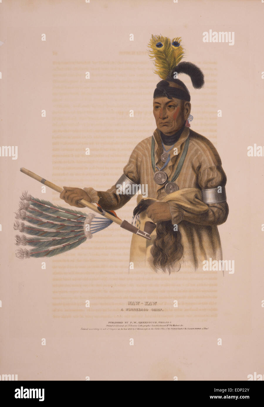 Naw-kaw, a Winnebago chief / drawn, printed & coloured at I.T. Bowen's Lithographic Establishment, no. 94 - Stock Image