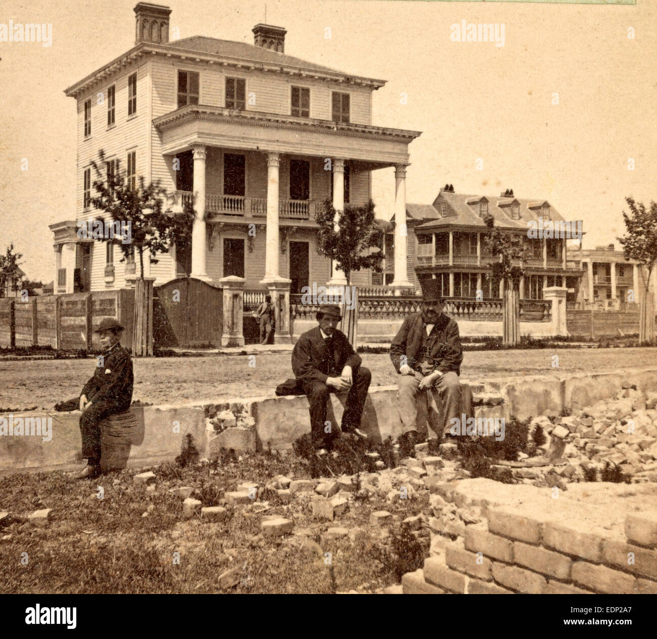 House where the Union officers were confined under fire, Broad St., Charleston, S.C., USA, US, Vintage photography - Stock Image