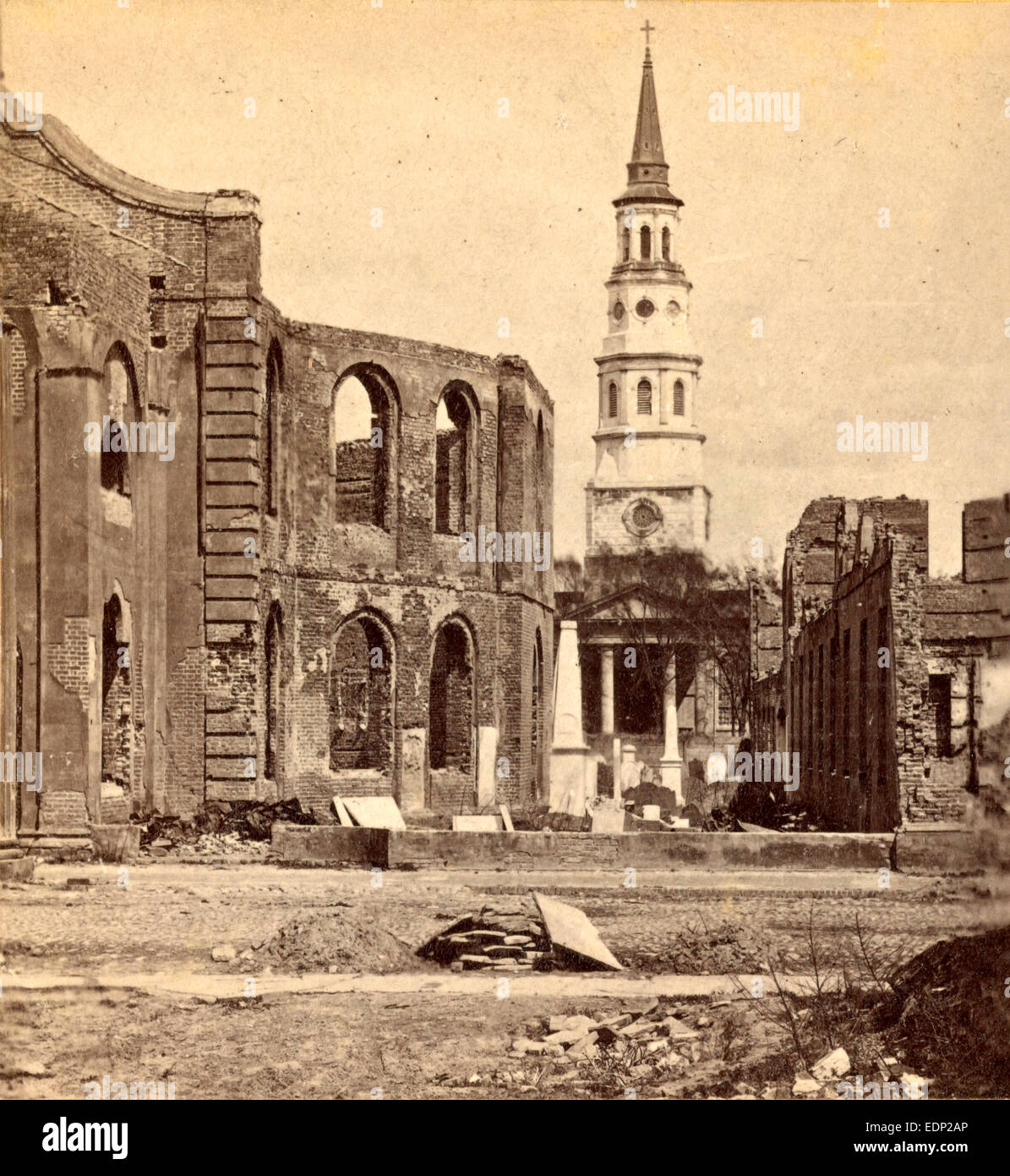 Meeting Street-Ruins of Secession Hall and Circular Church, with St. Phillips in distance, USA, US, Vintage photography - Stock Image